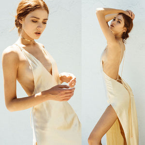 Fashion Womens Sexy Backless Satin Silk Casual Halter Slip Sleeveless Midi Party Club Dress - NaomisStore.com