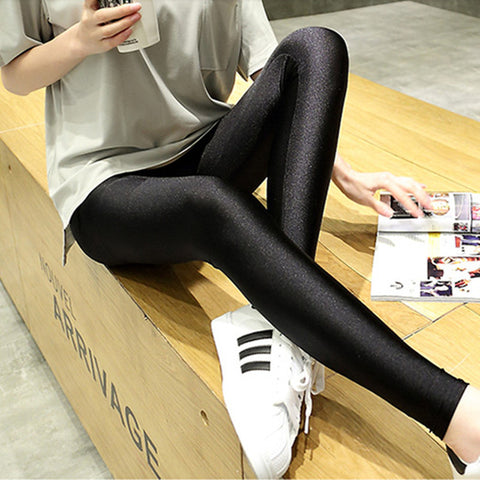 Spandex New Summer Style Thin Women Leggings Brightness Smoothy High Waist Elastic Leggins Black Quick Dry Legging Pants