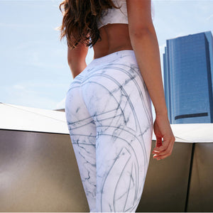 2018 Fashion Streamer Digital Printing White Leggings High Waist Casual Leggings Skinny Pants Sexy Slim Leggings - NaomisStore.com