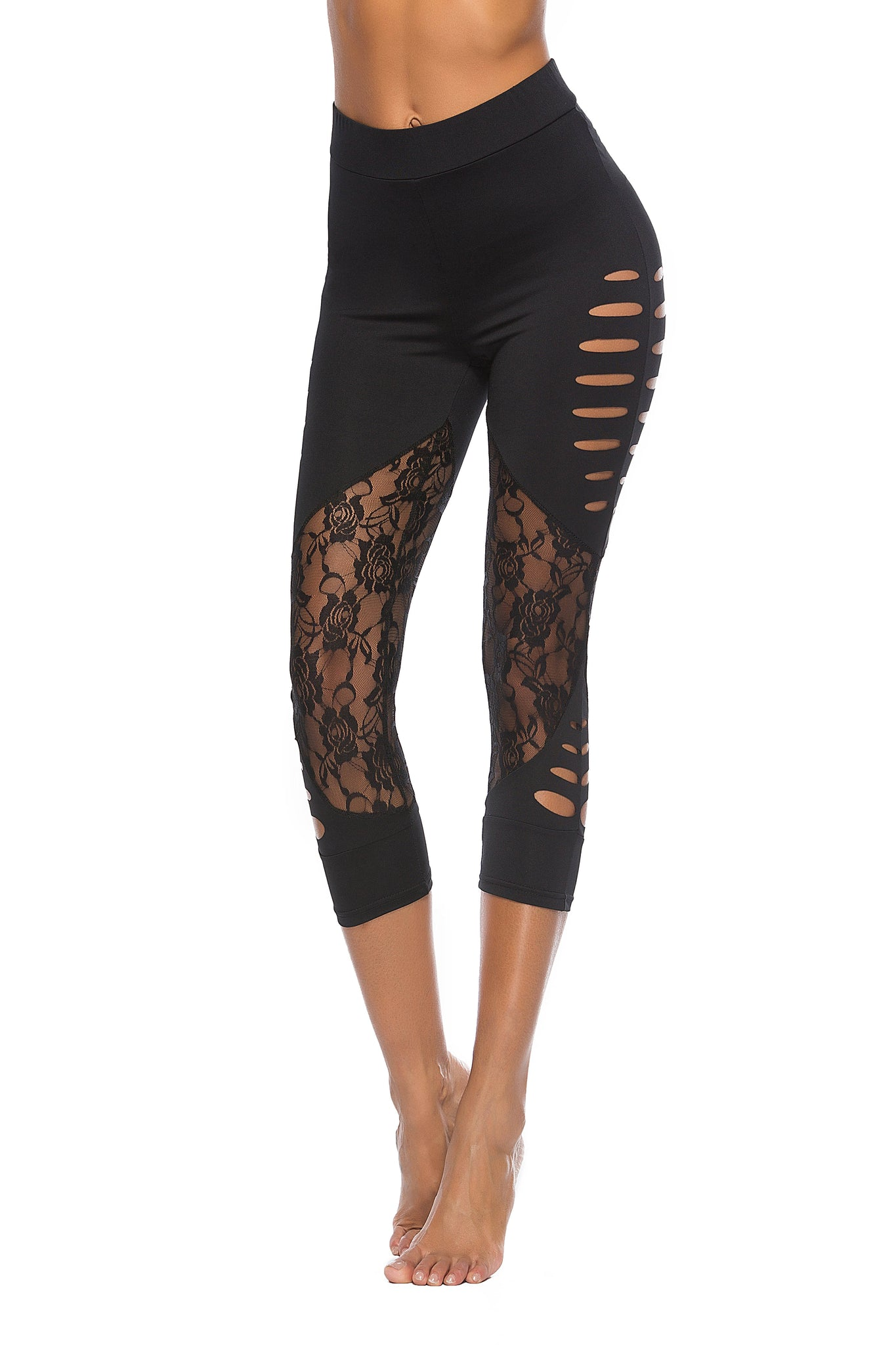 2018 Modified Body Lace Patch Hollow Women Fitness Leggings Mid-Calf Casual Black Summer Spring Legging - NaomisStore.com
