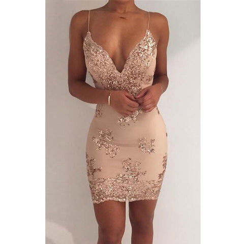 2018 new sexy Women Short Slim Mini Lace Dress Cocktail Party female strap backless Bodycon Sleeveless deep v-neck dresses - NaomisStore.com