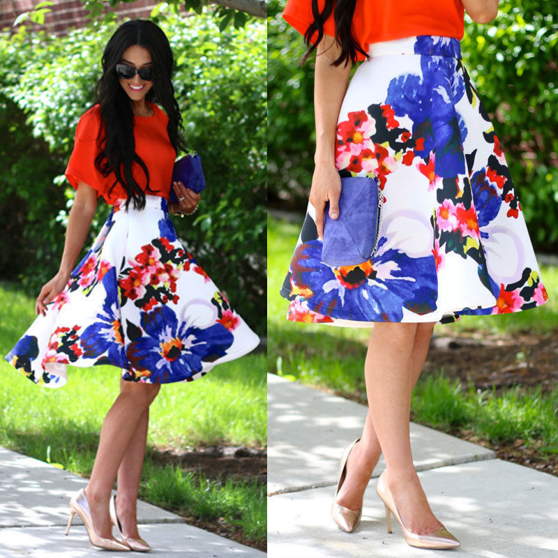 Ladies Chinese Style Floral Print Short Skirt