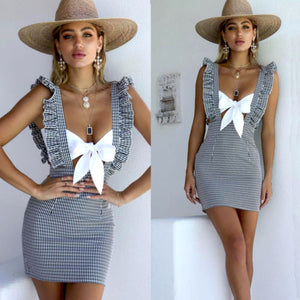 Summer Women Sexy Fashion Sleeveless Plaid High Waist Skirt Bodycon Bandage Evening Party Midi Skirts