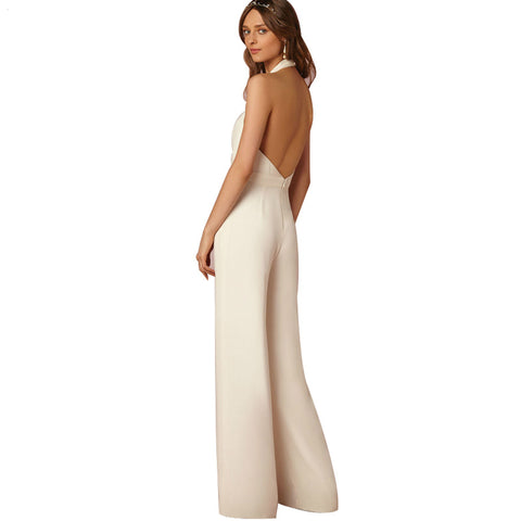 2018 New Casual Wedding Jumpsuit Sexy Sleeveless Halter Elegant Jumpsuit Ladies Coverall Deep V Sexy Halter Jumpsuit - NaomisStore.com
