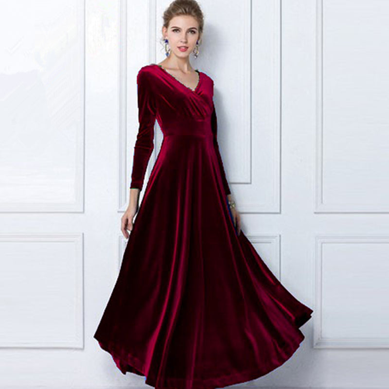 Autumn Winter Dress Women Elegant Casual Long Sleeve Ball Gown Dress Vintage Velvet Party Dresses Plus Size - NaomisStore.com