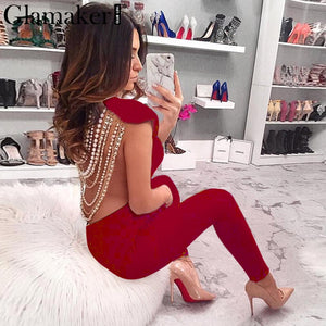 Sexy backless club party jumpsuit playsuit Female elastic bodycon jumpsuit