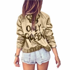 Autumn Women Bomber jacket Women Coat Crown Queen Print Long Sleeve Zipper Top Coat Biker Casual Short Outwear - NaomisStore.com