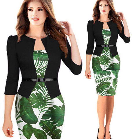 Summer Autumn One Pieces Patchwork Print Floral Dress Elegant Business Party Formal Office Plus Size Bodycon Pencil Dresses