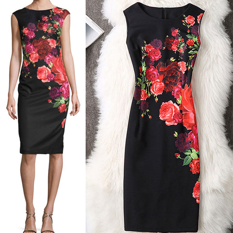 Women Summer Autumn Dress 2018 Plus Sizes 3XL 4XL Sexy Vintage Elegant Floral Evening Party Dress Office Bodycon Pencil Dresses