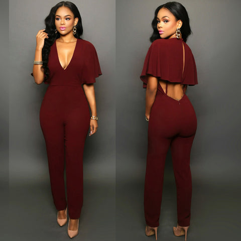 2018 New Arrivals Regular Casual Fashion V-Neck Sexy Summer Rompers Womens Jumpsuit for Women Green Red Pink Jumpsuit - NaomisStore.com