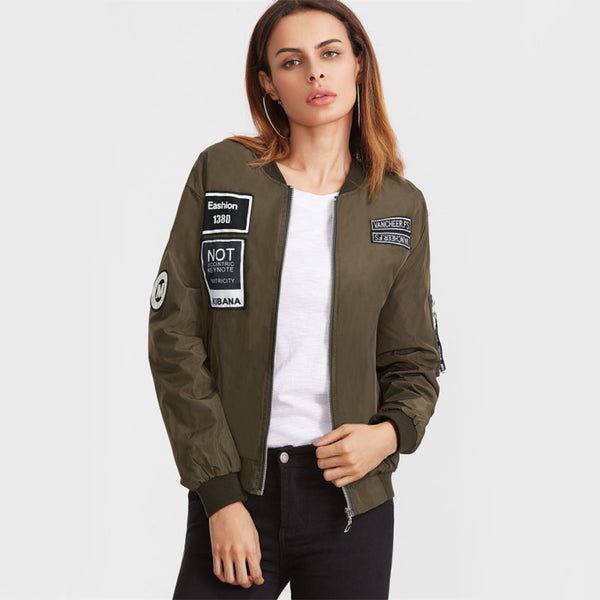 Embroidery Patch Flight Bomber Jacket Women Zipper Windbreaker Winter Coat Jackets 2018 Green Casual Stand Collar Jacket - NaomisStore.com