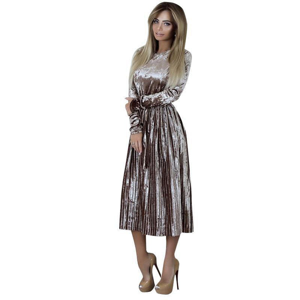 Long Sleeve Dress Women  Elegant Autumn Winter Dress Female Casual Pleated Ball Gown Evening Party Dresses