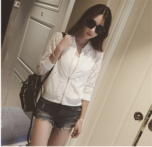 Lace Hollow Out Jackets 2018 Spring Summer New Casual Slime Women Thin Jacket White Black Lady Shorts Outwear Plus Size