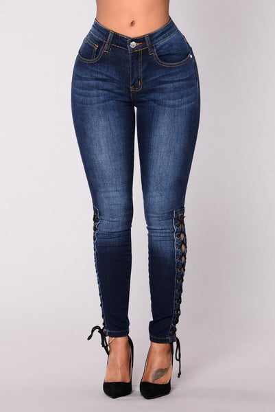 Autumn New Women Fashion High Waist Elastic Bandage Lace Up Skinny Jeans Long Denim Female Pencil Pants Trouses - NaomisStore.com