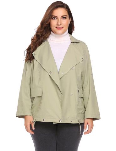 Women Short Jacket Coat Plus Size XL-5XL Autumn Long Sleeve Double-Breasted Lady Lightweight Outerwear Tops Oversized