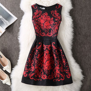 Women Dress 2018 Autumn Winter Elegant Sexy Casual Floral Dress Vintage Sleveeless Party Dresses Plus Size vestidos 5XL