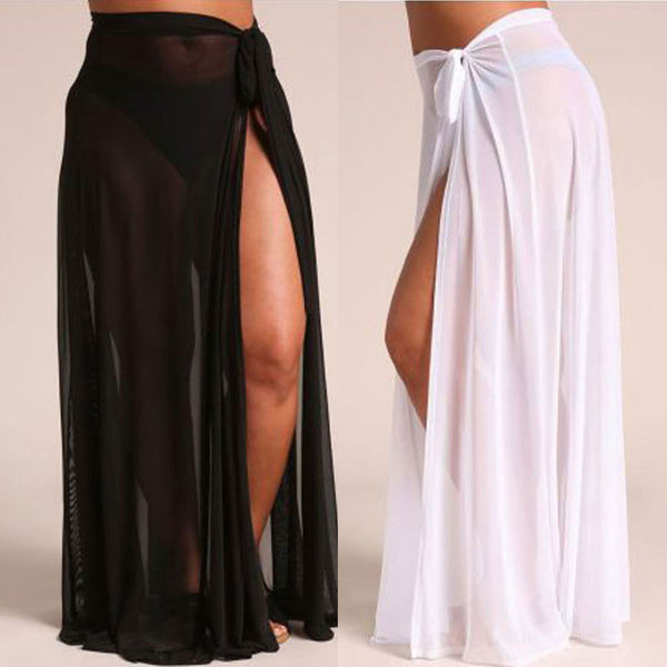 2018 Summer Chiffon Women's Thin Sheer Mesh Casual Swimwear Swimsuit Bathing Summer Beach Long Maxi Skirts L-XXL - NaomisStore.com