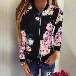 Plus Size Womens Ladies Baseball Coat Black Color Floral Print Zipper Up Long Sleeve Celeb Camo Bomber Jacket for Female