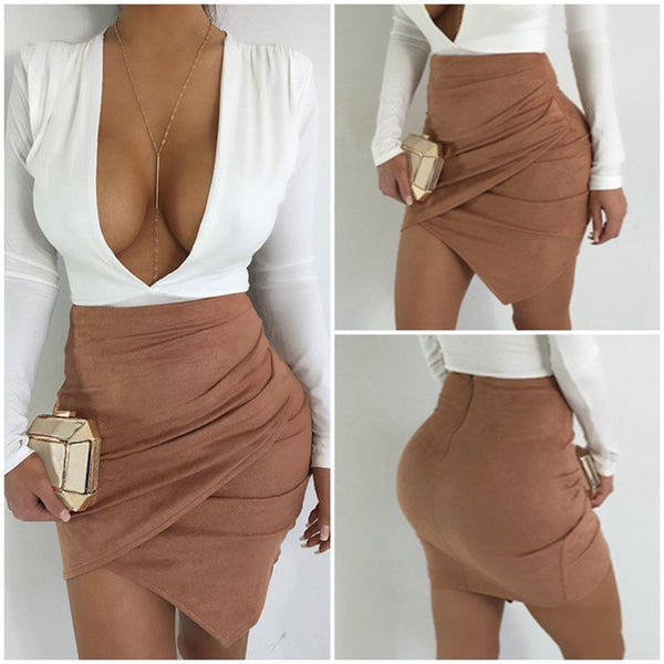 Fashion Women High Waist Lace Up Suede Leather Pocket Preppy Asymmetrical Short Mini Skirts - NaomisStore.com