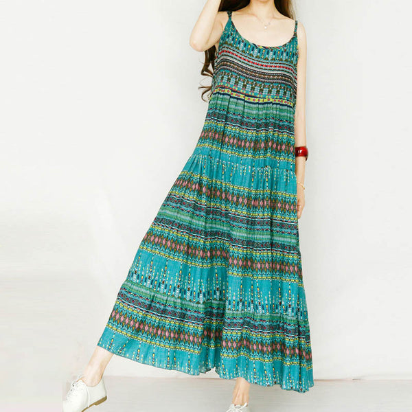 2018 Summer Women Long Maxi Dress Spaghetti Strap Sexy Boho Floral Printed Pleated Vestido Beach Party Sundress - NaomisStore.com