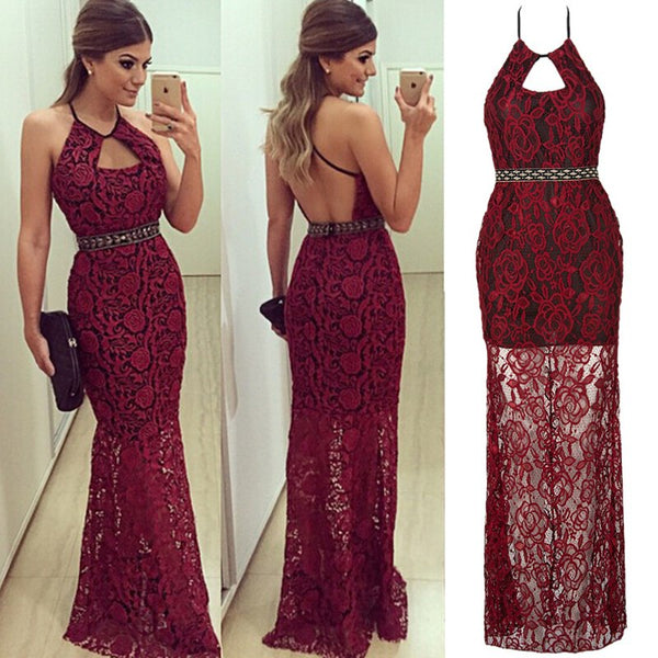 2018 New Style Fashion Women's Bodycon Sleeveless Dress Backless Lace Solid Party Dress Cocktail Long Dress - NaomisStore.com