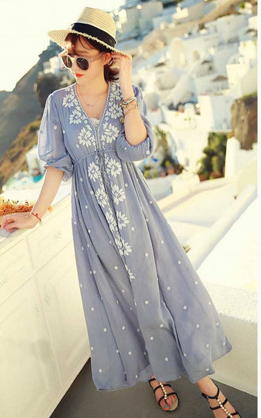 floral boho white dresses autumn vintage retro long sleeve maxi sale hippie beach ethnic blue embroidered dress ethnic