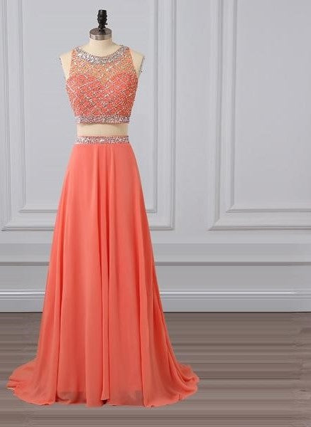 Candy Color Chiffon Sparkling Coral Evening Party Gown