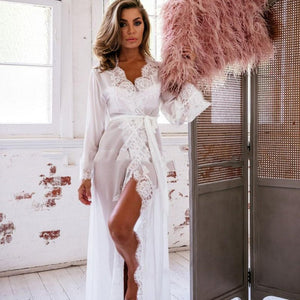 Sexy Lace Gown Bath Robe Lingerie Nightdress Long Kimono Dress Solid Color Summer Dressing Gown for Women Nighties Sleepwear