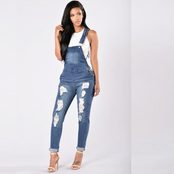 HOT cute overall Jeans Women Basic Classic High Waist Skinny Pencil Blue Denim Pants embroidery ripped hole Stretch Jeans women