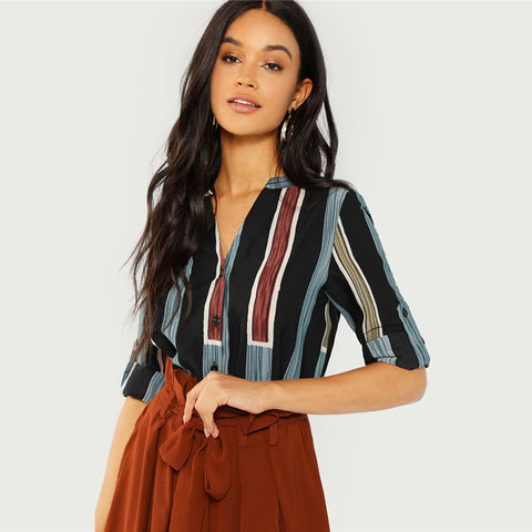 Multicolor Cotton V Cut Neck Striped Shirt Casual Roll Up Sleeve Button Placket Blouse Women Autumn Elegant Workwear Tops