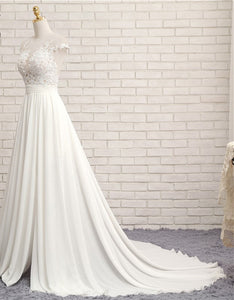 Sexy V-neck Chapel Train Long Zipper Cap Sleeves Lace Applique A Line Beach Wedding Dress Real Photo Wedding Gown