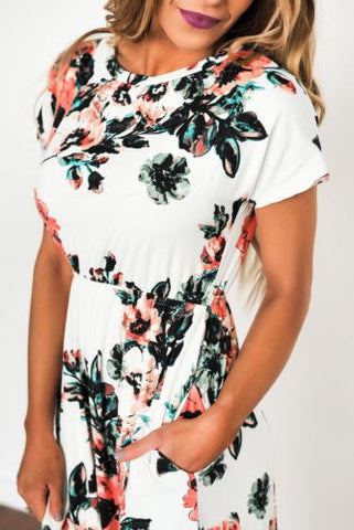 Hot Women Summer Short Sleeve Floral Split Midi Ladies Dress Beach Party Dresses