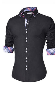 Men Slim Fit Casual Button Padded Long Sleeve Shirt