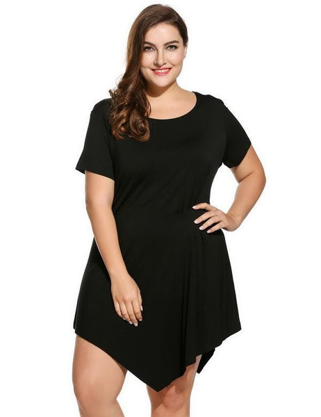 Draped Plus Sizes Short Sleeve Solid Women Front Asymmetrical Short Dress - NaomisStore.com
