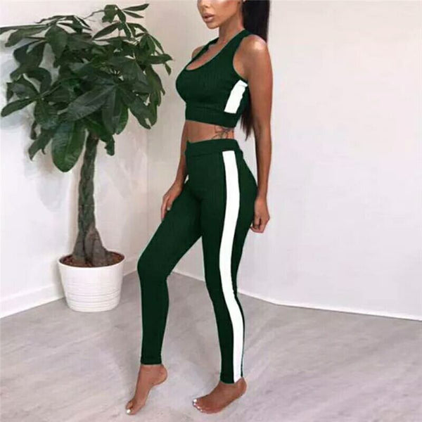2018 Spring Summer Sleeveless Tops Skinny Off Shoulder Crop Top And Bandage Legging 2 Piece Set Women Clothing Knitted Women Set - NaomisStore.com