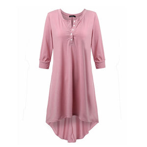 Vestidos Spring  Women Casual Loose Cotton Half Sleeve Sexy V Neck Button Irregular Hem Solid Dress Plus Size Tee Top