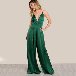 Culotte Leg Elegant Cami Jumpsuit Women Box Pleated Sexy V Neck Jumpsuits 2017 Fall Surplice Front Sleeveless Jumpsuit - NaomisStore.com
