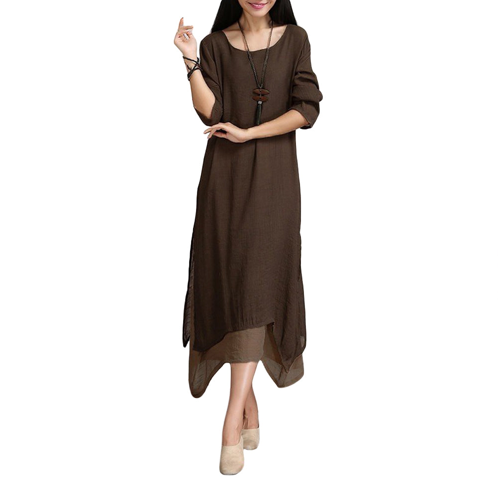 5XL Plus Size Spring Maxi Dress Vintage Long Sleeve Women Cotton Linen Long Dress Female Causal Boho Dresses Vestidos - NaomisStore.com