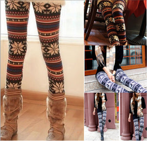 New Women Snowflakes Deer Print Autumn Winter  casual hight waist Stretchy Knitted Pants Christmas Trousers