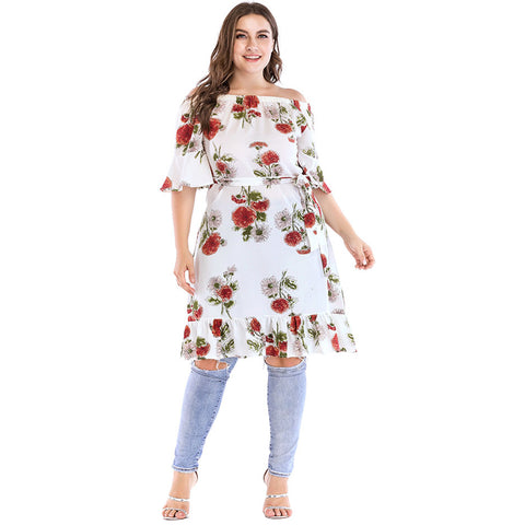 Fashion Women Plus Size Dress XXXL 4XL 5XL Sexy Off Shoulder Floral Print Dress Short Sleeve Tie Waist Summer Midi Dress