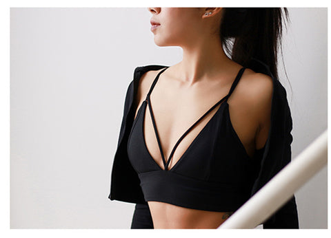 2018 Sexy Deep V Design Sport Bra Women Fitness Yoga Bra Push Up Bra Back Cross Running Gym Bra Vest - NaomisStore.com