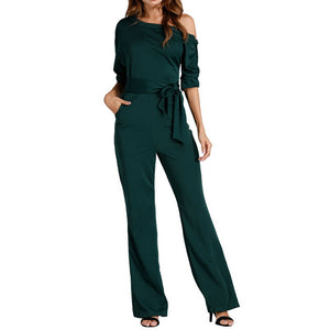 Jumpsuits Romper Women Overall Sexy One Shoulder bodycon tunic Jumpsuit for party elegant Wide Leg Pant body femme 2018 - NaomisStore.com