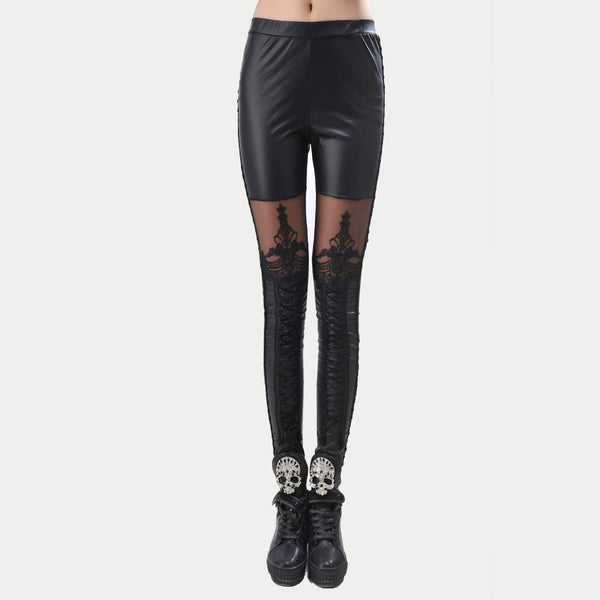 Black Legins Punk Gothic Fashion Women Leggings Sexy PU Leather Stitching Embroidery Hollow Lace Legging For Women Leggins - NaomisStore.com