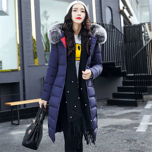 63d6b6d0e81 Women Winter Down Coat 2018 Casual Long Sleeve Big Fur Collar Down Jackets  Female Slim Hoody