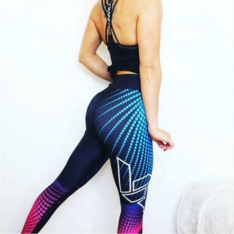 2018 Casual Knit Laser geometry Printed Yuga Pants Women Push Up Professional Runnings Fitness Sportings Leggings Slim Trousers - NaomisStore.com