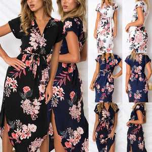 Women V-neck Floral Print Short Sleeve High Waist Wrap Split Midi Dress with Belt