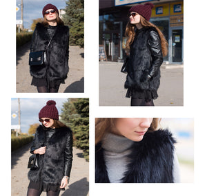 9f54dcf7752 Women Brown Plus Size Faux Fur Vest Slim Long Faux fur Coat Women XXL Gilet  Fourrure