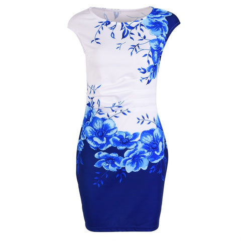2018 New Summer Women Casual Sleeveless O-Neck Print Slim Office Dress Sexy Mini Bodycon Party Dresses Vestido Plus Size - NaomisStore.com