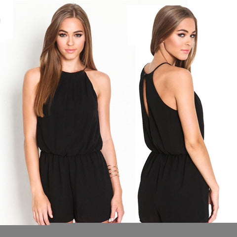 2018 Rompers Women's Clothing Overalls Sexy NEW Ladies beach Summer Brand Casual Black Sleeveless Halter Keyhole Back Jumpsuit - NaomisStore.com
