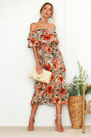 Womens Off Shoulder Floral Ruffle Dress Summer Midi Dress Bodycon Evening Party Women's Sommer Short Sleeve Chiffon Women Clothes